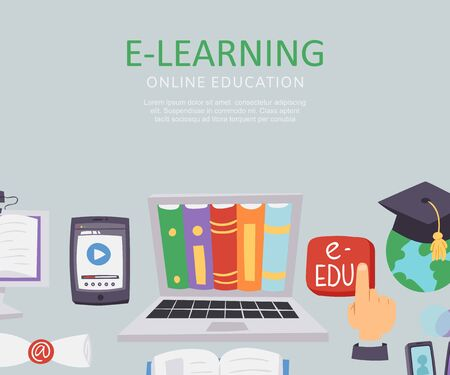 E-learning education school university vector illustration. Flat poster with monitor full of books, education red button, earth globe and mobile phone educational app for e-learning. Illusztráció