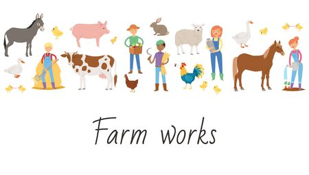 Agricultural work and life on the farm cartoon vector illustration. Farmers plowing, planting, watering, milking farm animals. Agriculture farming.