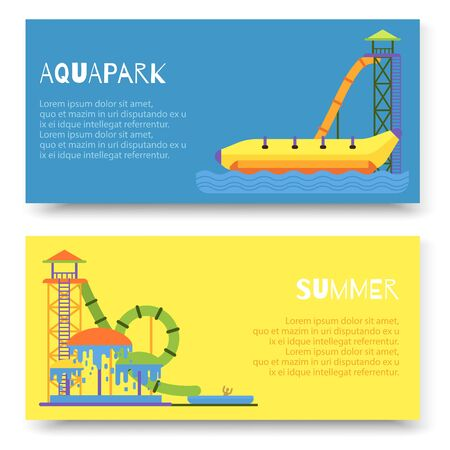 Aquapark attraction slide or waterpark with different water slides, hills tubes and pools vector illustration. Blue and yellow aqua park horizontal banners. Illustration