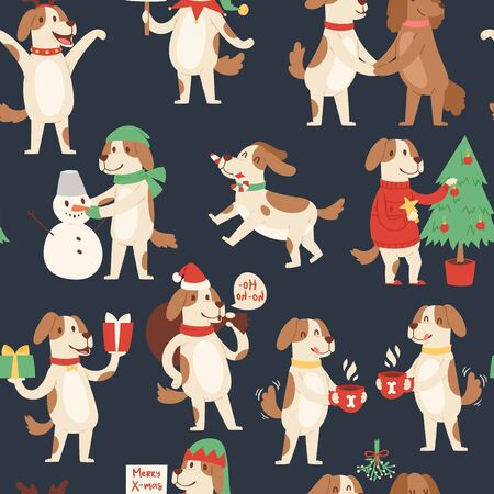 Christmas dog seamless pattern. Vector illustration of cute cartoon dog in red Santa hat and snowman, christmas tree. Doggie merry christmas textile or wrapping.