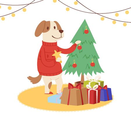 Cartoon dog wearing red Santa sweater decorates Christmas tree vector illustration. Childish christmas character dog or puppy with holiday gifts.