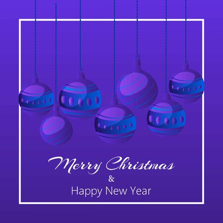 Blue merry christmas balls on dark blue background banner cardwith white frame and modern typography greeting. Classy christmas balls card or poster. Archivio Fotografico - 129806661