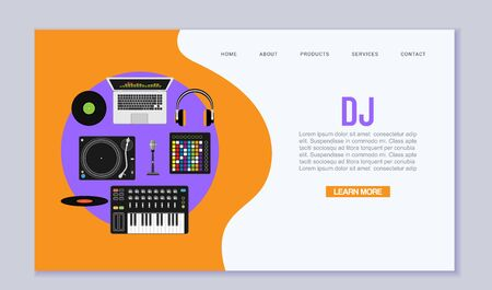 Dj music workspace flat design vector illustration. Top view of music dj desk background with laptop, mixer, electro piano and headphones and retro record player.