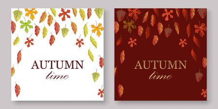 Autumn leaves banners set with white and burgundy fall background vector illustration. Yellow, orange, green, brouchure, layout, book, album burgundy autumn leaves. Çizim
