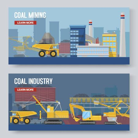 Two mining industry horizontal banners set, vector illustration. Coal extracting and miner transportation with outdoor mine factory scenery.