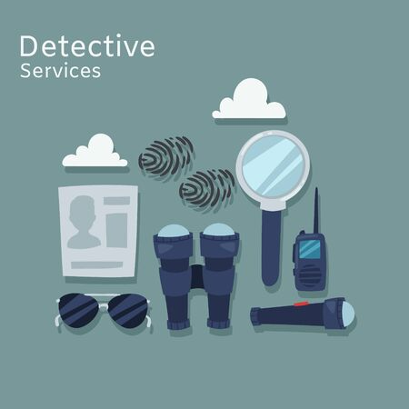 Detective services vector flat illustration. Magnifying glass, mobile, traces, thumb-print and evidence. Spy equipment, accessories for detective infographic.