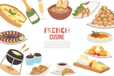 Ilustración de vector de cocina francesa. Queso francés, sopa de cebolla, trufas, croissants con taza de café y ancas de rana. Menú de restaurantes famosos de Francia.
