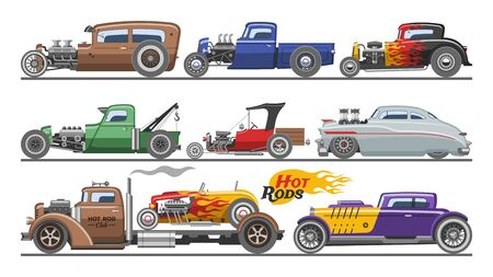 Hot rods car vector vintage classic vehicle and retro auto transport roadster illustration set of hot-rods automobile with fire isolated on white background  イラスト・ベクター素材