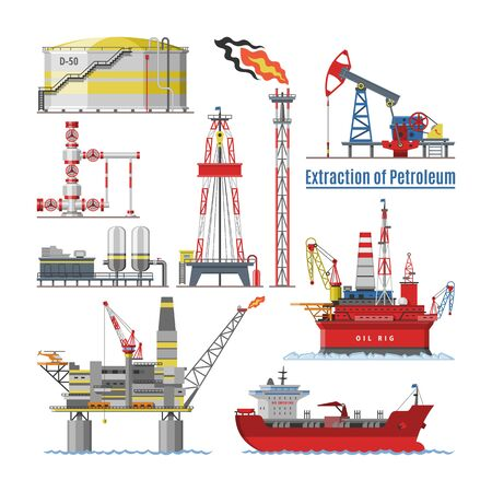 Oil industry vector oily products oiled technology producing drilling fuel petrol petroleum pump oil-rig illustration set of industrial equipment crane ship isolated on white background
