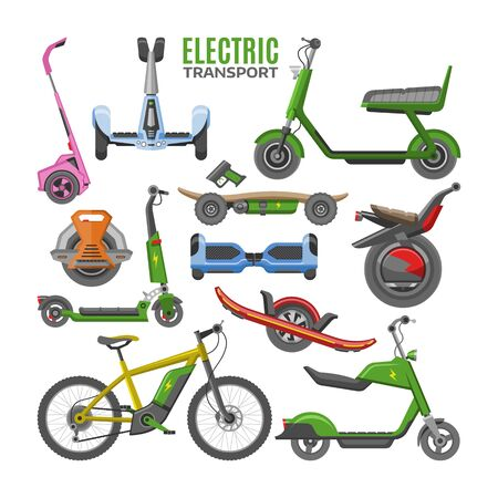 Electric transport vector hoverboard scooter electro-bike segway gyroscooter illustration set of electrical monowheel cycle eco balanceboard isolated on white background