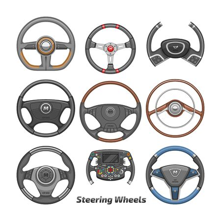 Steering wheel vector car wheeling control device in vehicle automobile illustration transportation design set of driving circle speed equipment isolated on white background Illustration