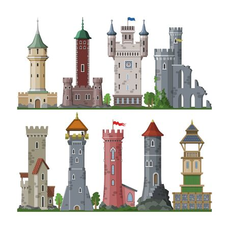 Medieval tower vector cartoon castle fairytale of fantasy palace building in kingdom fairyland illustration set of historical fairy-tale house isolated on white background