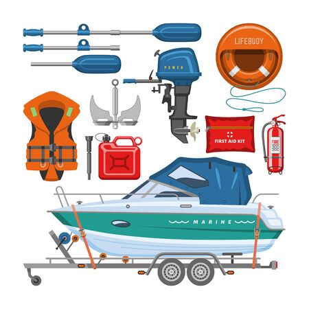 Boat equipment vector motorboat yacht with life-vest lifebuoy paddle anchor illustration marine set of nautical sailboat yachting or speedboat shipping transportation isolated on white background