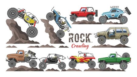 Monster truck vector cartoon rock vehicle crawling in rocks and extreme transport rocky car illustration set of heavy rocky monster-truck with large wheels isolated on white background