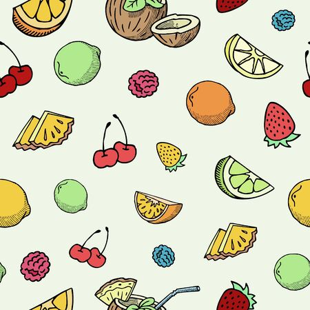 Hand drawn fruits and berries vector seamless pattern. Ink pen cherry, lemon slices, strawberry and blueberry fruits sketch. Vintage background in bright summer colors.