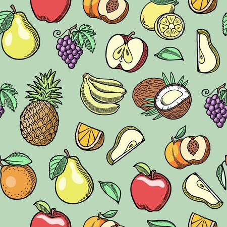 Sketch tropical fruits vector seamless pattern. Ink pen orange slices, pears, grapes and bananas, peaches with coconut hand drawn. Summer tropical fruits. Ilustrace