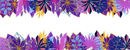 Ultraviolet exotic Hawaiian tropical leaves vector illustration. Summer palm neon fluorescent tropical leaves frame with white space banner. Çizim