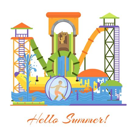 Water park and swimming attraction for kids vector illustration with hello summer. Aquapark with glides and swim pools attraction for children fun on summer holidays.