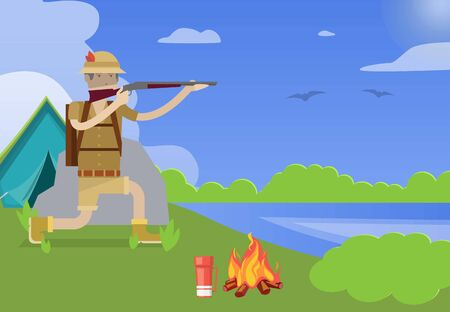 Hunter with gun vector illustration. Weapon and shotgun, hunting sport, duck and shooter cartoon character on hunt at summer landscape with tent and fireplace. Illusztráció
