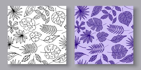 Black and white hand drawn line leaves and with purple background seamless pattern, vector illustration. Sketch and colored leaves background, texture.