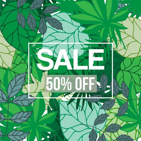 Tropical jungle foliage with sale text, vector illustration. Green exotic foliage background with palm trees and leaves and white frame with sale or discount.