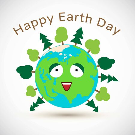 Cute cartoon Earth day postcard vector illustration. Earth globe happy with green trees and blue oceans isolated on white background.
