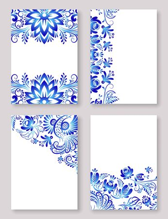 Russian ornaments gzhel art, vector illustration of blue colored flowers. Decorative frames with blue flowers on a white background. Four russian ghzel banners set.