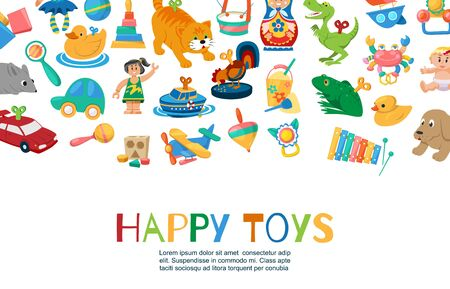 Baby toys to play vector illustration. Funny clockwork toys, ball, toy car, doll, rattles and other kids items. Different toy for children collection with inscription. 向量圖像