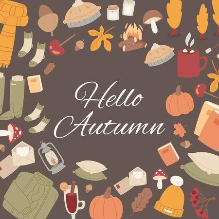 Hello autumn vector set of fall cute objects. Sweater, falling leaves, mushroom, pumpkin and woolen socks. Collection of autumn season elements. Çizim