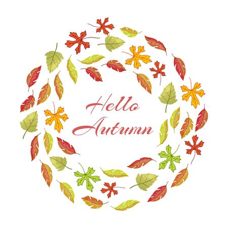 Autumnal leaves round frame with hello autumn vector illustration. Wreath of red, yellow and orange autumn leaves. Fall of the leaves. Çizim