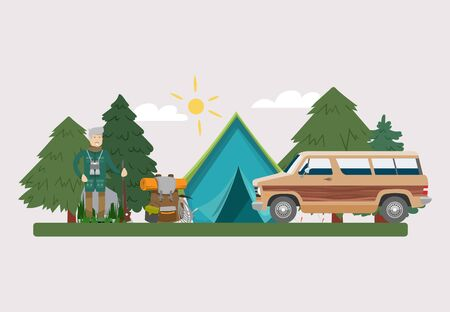 Hunt equipment vector illustration. Huntsman amunition collection with tent and car at forest outdoor. Hunter with riffle, gun, camouflage backpack.