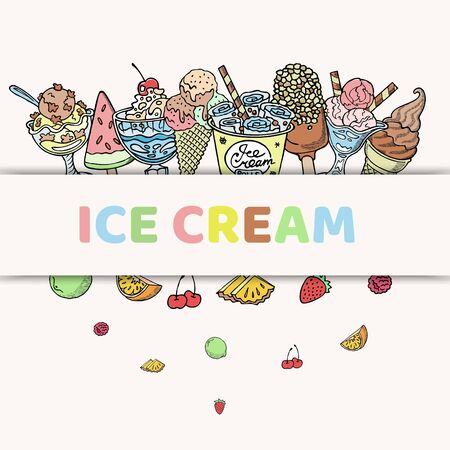 Ice cream and frozen yogurt in takeaway paper cup, waffle cones and fruits, vector illustration. Different flavors of fruits in frozen yogurt and sandae icecream.