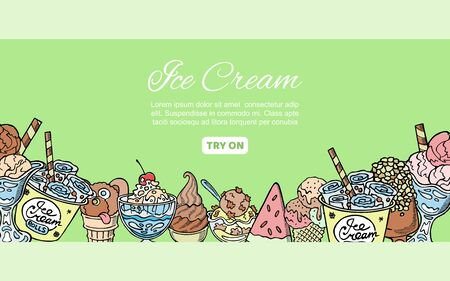 Ice cream assortment hand drawn doodles vector illustration. Sweet frozen desserts. Sketches of ice cream in cones, frozen yogurts, eskimo and scoops with fruits. Ilustração