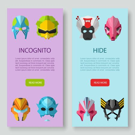 Alien, monster masks, incognito and hide inscription two vertical banners vector set. Illustration of star wars masks, cosmic, outer space. Incognito face covers or masque.