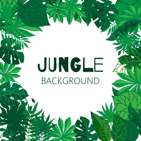 Tropical jungle frame, vector illustration. Green exotic foliage background with palm trees and leaves. Jungle template for kids party invitation.