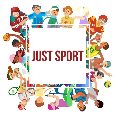 Sport cartoon people vector frame. Illustration of people or kids playing football, volleyball, basketball and karate, athletics. Sportsmen and sportswomen concept for posters. Illustration