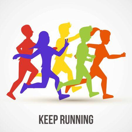 Continua a correre illustrazione vettoriale. Disegno del manifesto della giornata mondiale della salute. Salva il concetto di salute. La gente fa jogging, si allena. Sagome di corridori colorati per banner, copertina pubblicitaria. Vettoriali