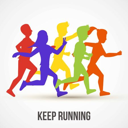 Kontynuuj bieganie ilustracji wektorowych. Projekt plakatu Światowy dzień zdrowia. Zapisz koncepcję zdrowia. Ludzie biegają, biegają, trenują. Kolorowe sylwetki biegaczy na baner, okładka reklamy. Ilustracje wektorowe