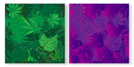 Tropical green and neon palm leaves seamless vector patterns set. Jungle purple colored floral background. Exotic botanical foliage with tropic leaves for fabric, fashion textile, wallpaper.