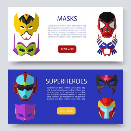Superherous masks two horizontal banners vector set. Illustration of star wars masks, cosmic, outer space. Superherous face covers or masque. Иллюстрация