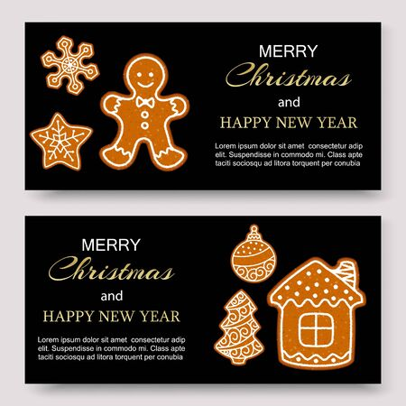 Gingerbread merry christmas banners and card design vector template. Illustration of homemade gingerbread man, star and house cookie theme concept.