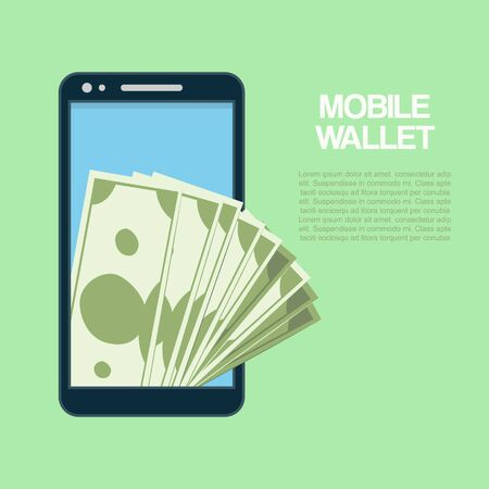 Smartphone with cash money, mobile wallet technology vector illustration. Wireless payment with smart phone. Flat icon modern design style of smartphone payments.