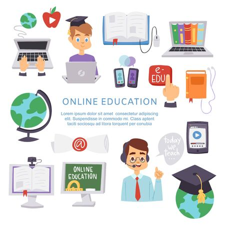 Online education, e-learning science vector illustration poster. Book computer and studying icons. Globe, cartoon character teacher and student, smartphones and e-learning library.