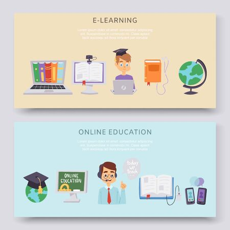 Online education, e-learning science vector illustration horizontal banners set. Online computer and studying icons. Globe, cartoon teacher and student, smartphones and e-learning library.