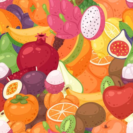 Exotic fruit pattern seamless vector. Fruity background and fruitful exotic wallpaper with fresh organic pomegranate, papaya, orange and figs and tropical fruits backdrop. Illusztráció