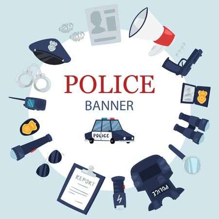 Police professional tools and security equipment round circle vector banner. Handcuffs, bulletproof vest, electroshocker and truncheon, badge, weapons and other police service objects banner. Ilustração
