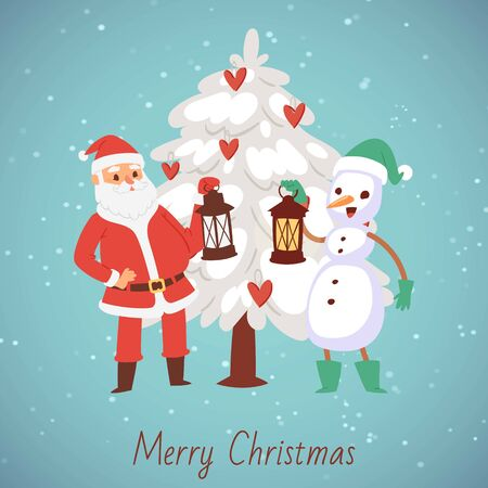 Santa Claus and snowman with laterns and snowy christmas tree vector cartoon illustration. Merry Christmas and happy new year companions, Santa and snowman with merry christmas text.