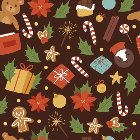 Vintage cartoon seamless vector pattern for Merry Christmas and Winter Holiday. Christmas toys. Gifts, candies, omella leaves and ball, gingerbread man on dark wrapping background. Banque d'images - 133832484