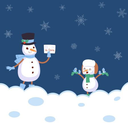 Winter landscape with snowmans with scarf, snowflakes and bird sitting on his hand and letter flat cartoon vector illustration. Winter snowy holidays and merry christmas card.