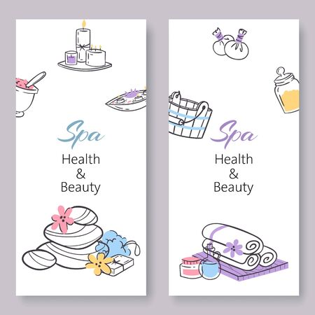 Spa health and beauty vector doodles illustration banners set. Beauty concept for manicure, pedicure spa salon or shop, health club supplies, tools and text. Illusztráció